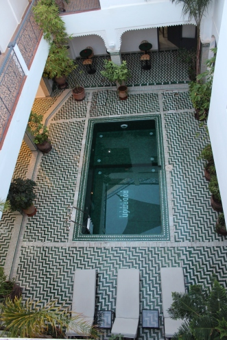 A pool, like here at the Rodamon Hostel in Marrakesh, is the perfect common area to meet up with new found friends